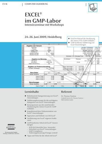 EXCEL® im GMP-Labor Intensivseminar mit ... - GMP-Navigator