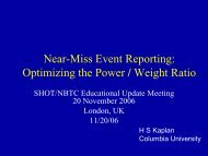 Near-Miss Event Reporting - Serious Hazards of Transfusion