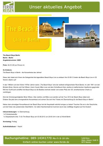 The Beach Boys Berlin - Eventreisen - Trierischer Volksfreund