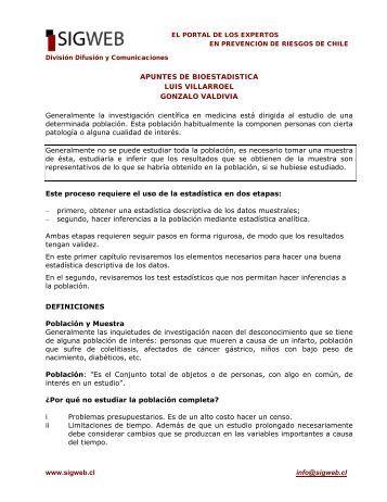 Apuntes de Bioestadística de Luis Villarroel y Gonzalo ... - Sigweb