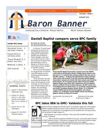 Baron Banner August 10 - Brewton-Parker College