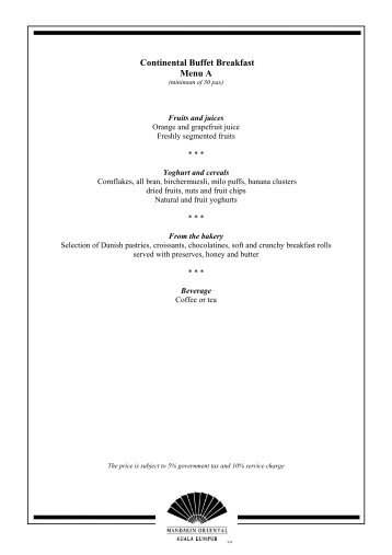 Set Cocktail Menu 1