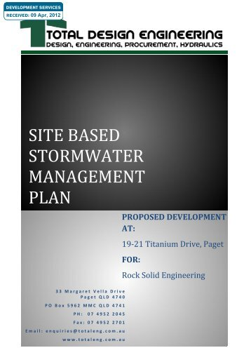 SITE BASED STORMWATER MANAGEMENT PLAN - Applications