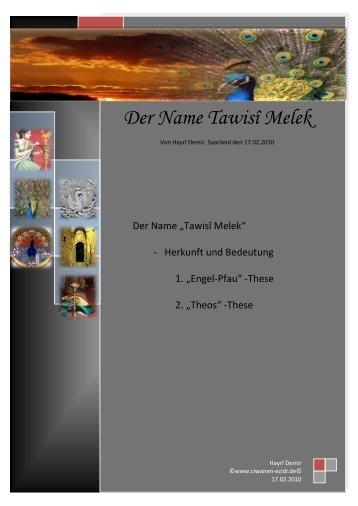 Der Name Tawisî Melek