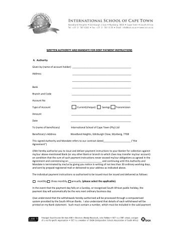 ISCT New Debit Order Form   International School Of Cape Town