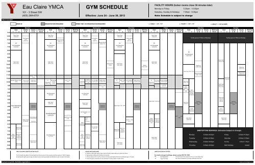 Eau Claire YMCA GYM SCHEDULE - YMCA Calgary