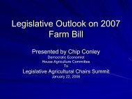 Legislative Outlook on 2007 Farm Bill - State Agriculture and Rural ...