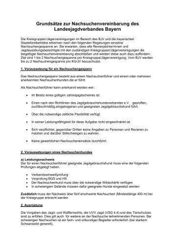 Grundsätze zur Nachsuchenvereinbarung - Bezirksjagdverband ...