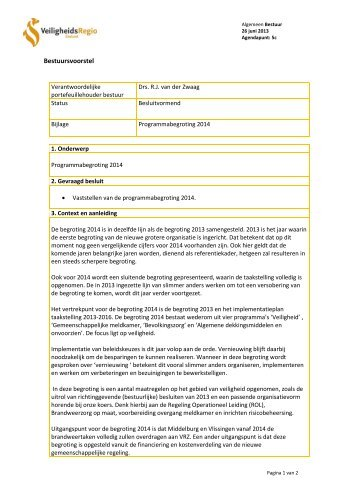 Begroting 2014 - Veiligheidsregio Zeeland