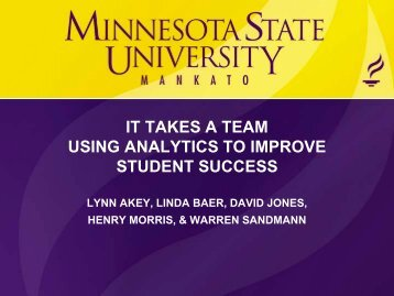 it takes a team using analytics to improve student success