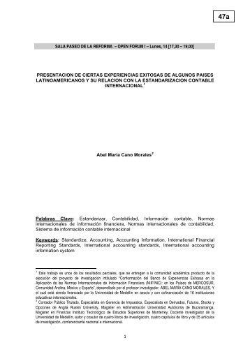 PRESENTACION DE CIERTAS EXPERIENCIAS EXITOSAS ... - Aeca