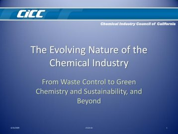The Evolving Nature of the Chemical Industry - Research and ...