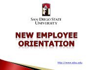 new employee orientation - Center for Human Resources - San ...