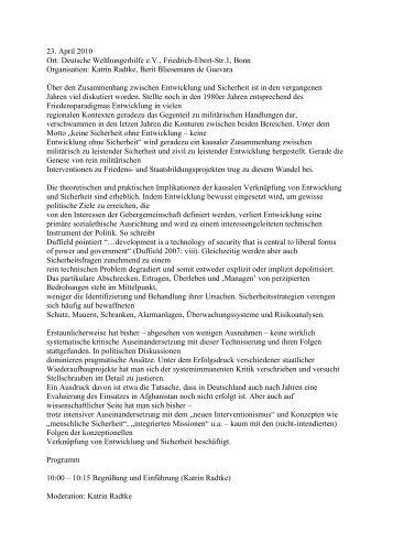 Deutsche Welthungerhilfe eV, Friedrich-Ebert-Str.1, Bonn ...
