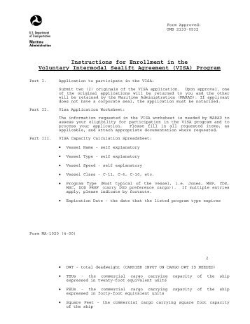 VISA - Maritime Administration - U.S. Department of Transportation