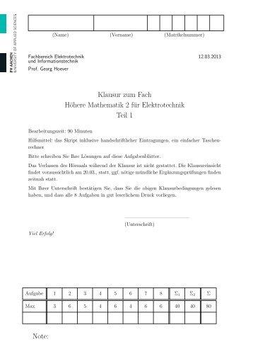 Aufgabenblatt - Prof. Georg Hoever