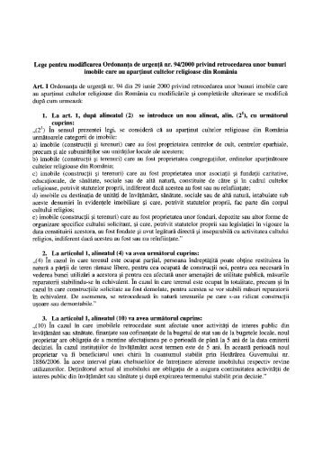Lege pentru modificarea Ordonanţa de urgenţă nr. 94/2000 privind ...