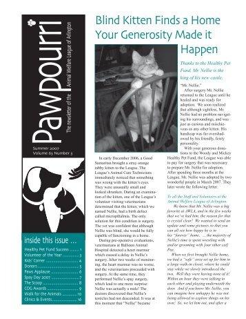 AWLA's 2007 summer newsletter - Animal Welfare League of Arlington