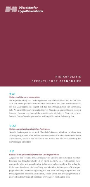 risikopolitik öffentlicher pfandbrief a1 a2 b - Düsseldorfer ...