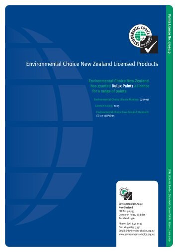 Dulux - Environmental Choice New Zealand