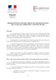 prorogation du contrat urbain de cohesion sociale de la ville de ...