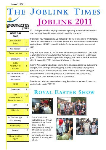 Joblink Times Issue 2 2011 - Greenacres Disability Services