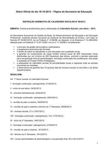 instrução normativa de calendário escolar nº 08/2012
