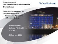 M Dolan presentation - Irish Association of Pension Funds