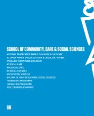 School of coMMUNITY, cARE & SocIAl ScIENcES - City of Glasgow ...