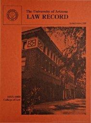 LAW RECORD - College of Law - University of Arizona