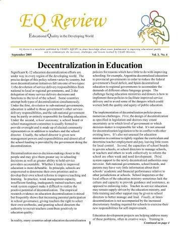 Decentralization in Education - EQUIP123.net