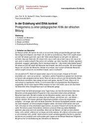 In der Erziehung wird Ethik konkret Prolegomena zu einer ... - GPI