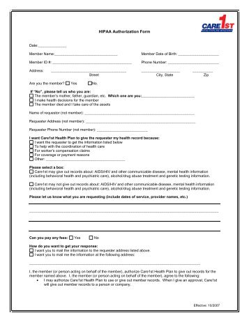 Instructions For The Use Of The Hipaa-Compliant Authorization Form