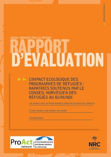 l impact ecologique des programmes de réfugiés ... - ProAct Network