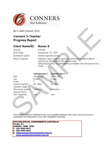 Conners 3–Self-Report Assessment Report - Psychological ...
