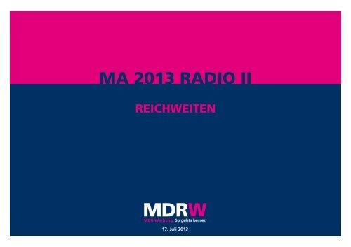 Reichweiten laut Mediaanalyse MA 2013 Radio II - MDR-Werbung