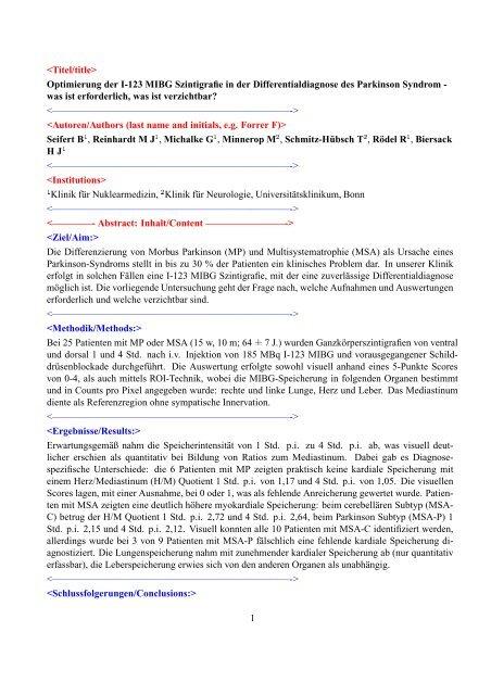 Optimierung der I-123 MIBG Szintigrafie in der ...