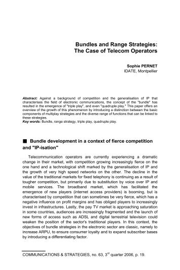 Bundles and Range Strategies: The Case of Telecom Operators
