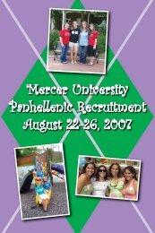 Mercer University Panhellenic Recruitment August 22-26, 2007