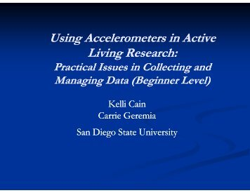 Practical Issues in Collecting and Managing Data - Active Living ...