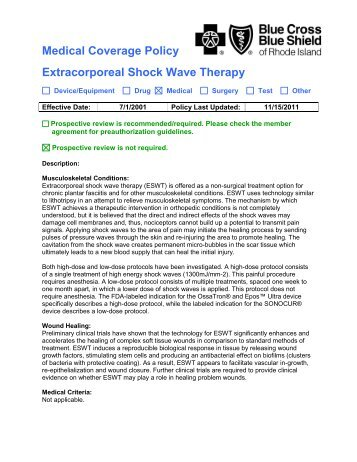 Extracorporeal Shock Wave Therapy - Blue Cross & Blue Shield of ...