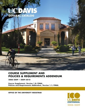 UC Davis 2008-2010 General Catalog Course Supplement and ...