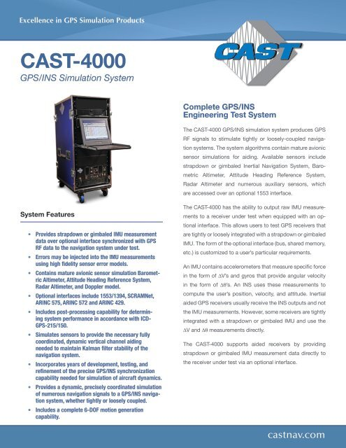 CAST 4000 GPS/INS Simulation System - CAST Navigation