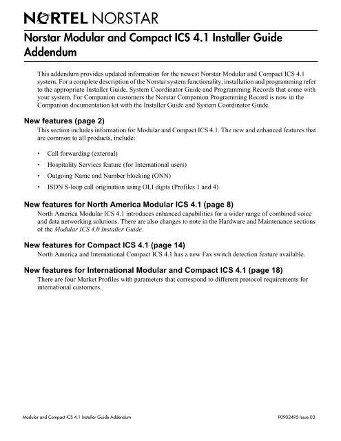 Norstar Modular and Compact ICS 4 1 Installer Guide Addendum
