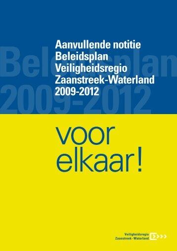 Aanvullende notitie Beleidsplan Veiligheidsregio Zaanstreek ...