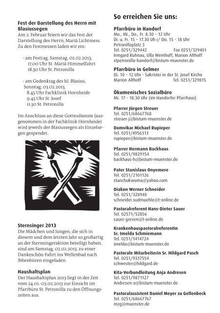 Pfarrnachrichten vom 26.01. bis 03.02.2013 - St. Petronilla