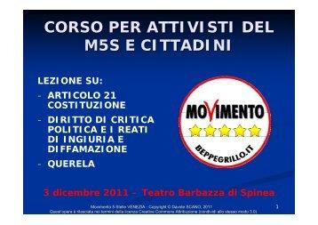 CORSO PER ATTIVISTI DEL M5S E CITTADINI - Sg64.it