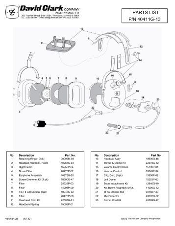 view parts list schematic david clark company incorporated p n 40411g 13 parts list david clark company incorporated