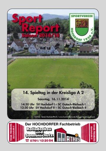 Sport Report - SV Hochdorf - Sonntag 16.11.2014