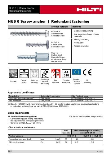 HUS 6 Screw anchor _ Redundant fastening - Hilti Danmark A/S